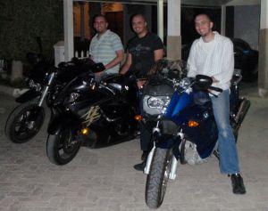 Faris, Nijad and Suhail Algosaibi on motorbikes