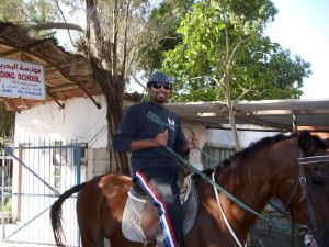 Vinod, first time ever on a horse