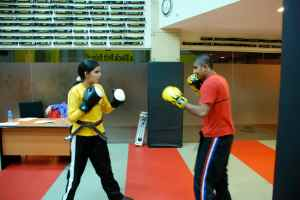 Sensei Vinod and Yasmeen about to do front kick techniques